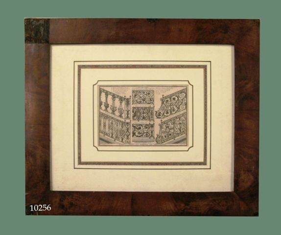 "Grabado arquitectónico: ""Rampes, appuis et balcons de serrurerie"". Marco de caoba. S. XVIII"