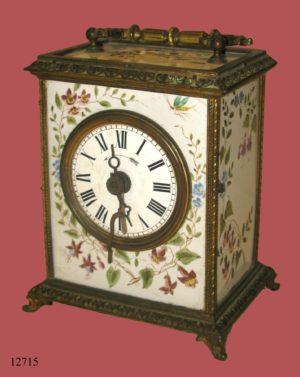 Reloj Carruaje de sobremesa Francés, con bronce y esmaltes. 1.878. S. XIX