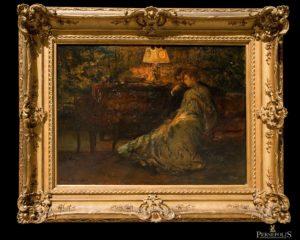 Óleo sobre tela: Señora y Caballero sentados en un sofá, al lado de una cómoda. Fdo. Albert Roelofs (1877-1920)