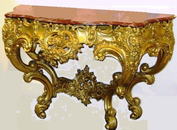 Consola Barroca abombada de talla, dorada con oro fino y con mármol Italiano. C.1800
