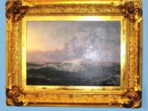"Óleo sobre tela: ""Breaking Waves"".Tela original Johannes Herman Brandt, 1850 - 1926. Firmado 1918"