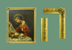 Óleo sobre tela: Virgen María con el Niño en la cuna. Escuela Italiana, S. XVIII