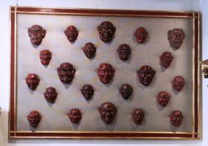 Máscaras Japonesas con ojos de cristal y pelo natural S. XVIII