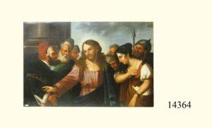 Óleo sobre tela: Cristo con mujer llorando y rodeados de personajes. Sin marco. Escuela Italiana, S. XVIII