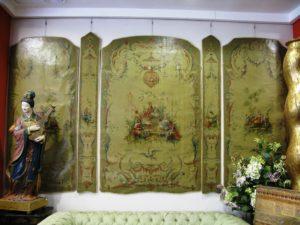 Óleo sobre tela: Conjunto de diez Paneles Chinoiserie época Luis XV. Francia, S. XIX.